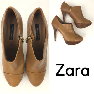 Zara - Leather Ankle Booties | Boots Nude + Brown